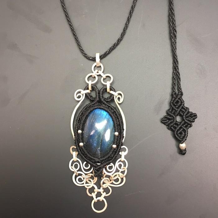 Labradorite silver wire pendant