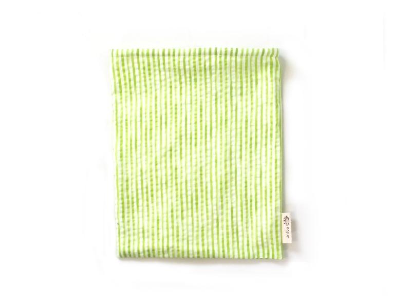 ハリネズミ用寝袋 M(夏用) 綿リップル×スムースニット ストライプ ライムグリーン