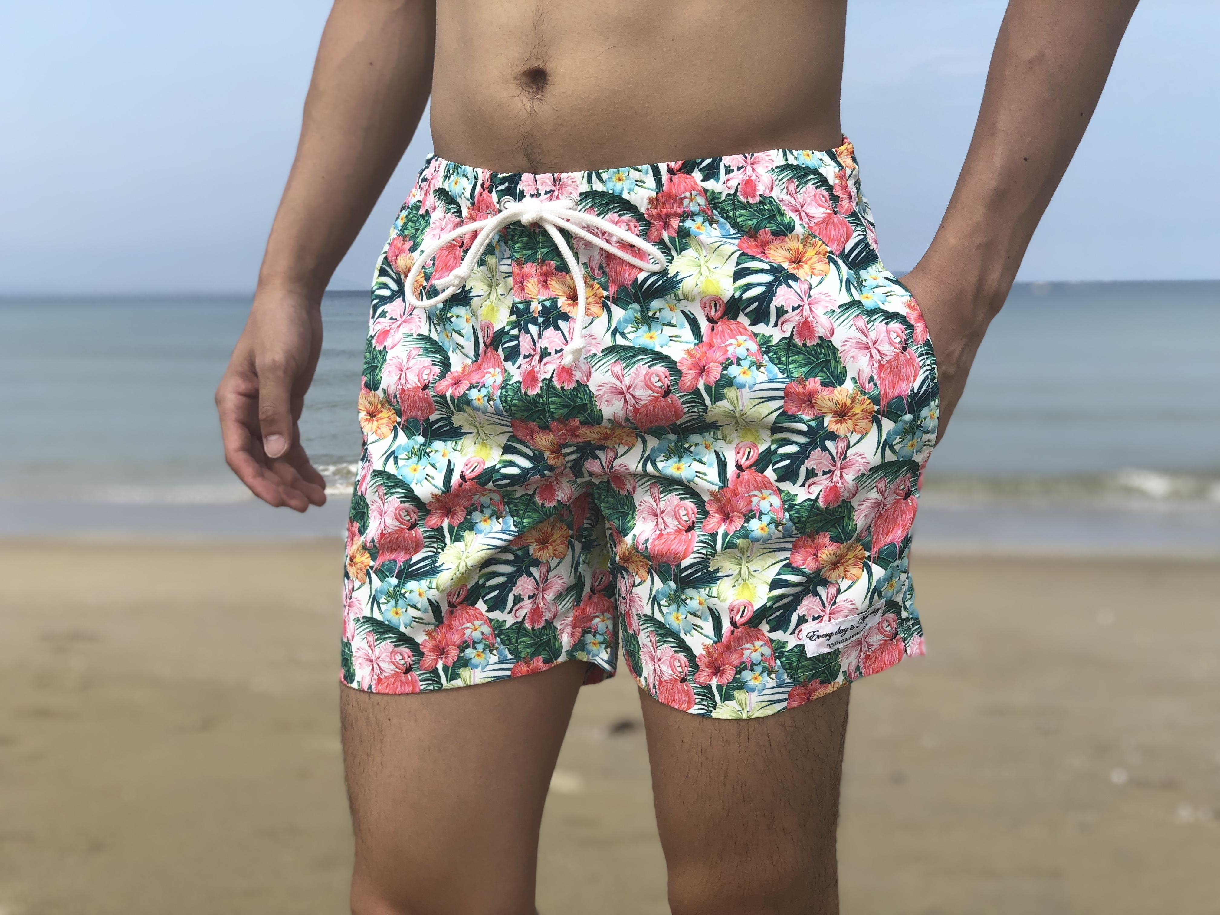 【7/13 0:00 ReStock 送料無料】ThreeArrows Print Board Shorts(botanical garden white)