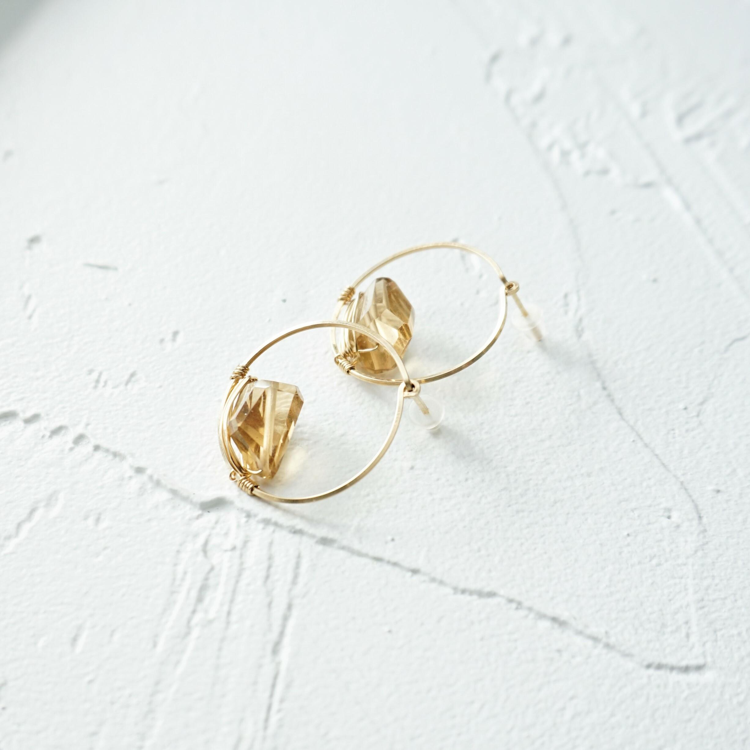 上白石萌音さん着用14kgf*宝石質 Champagne Quartz Circle stud pierced earring / earring