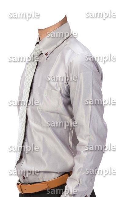 男性グレーワイシャツ斜めA