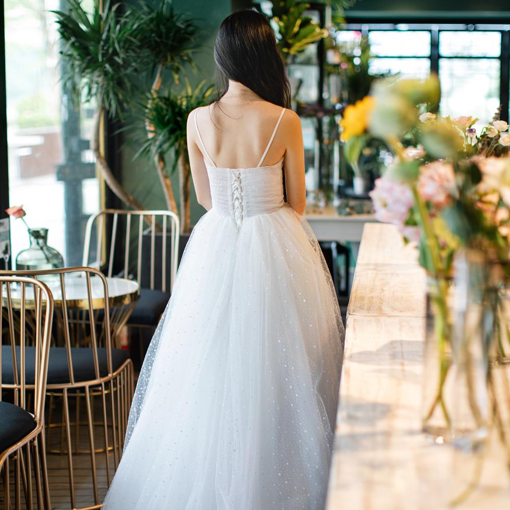 【DearWhite】ウェディングドレス Aライン プリンセス エンパイア デコルテ 結婚式 披露宴 二次会 パーティーウェディングドレス・カラードレス・サイズオーダー格安オーダーメイド DW00026