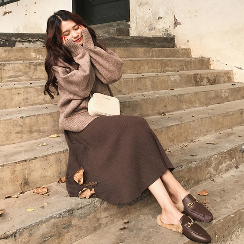 【set】カジュアル無地長袖セーター +スカートセットアップ 14585152