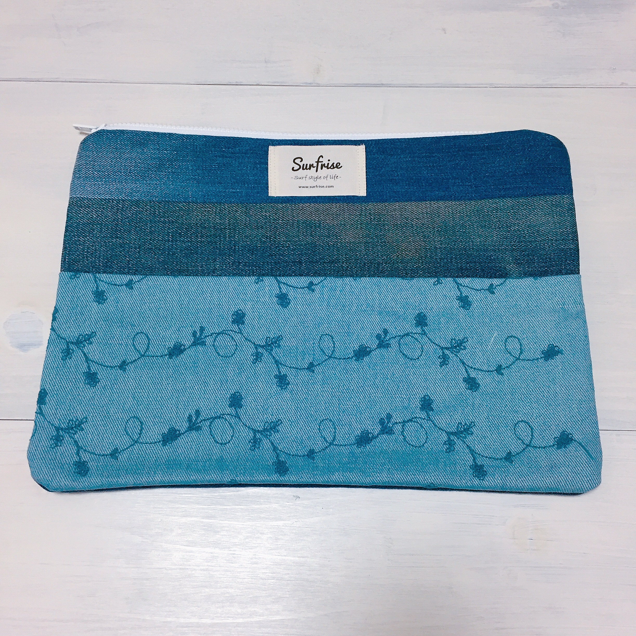 Denim clutch bag C3(Light blue)