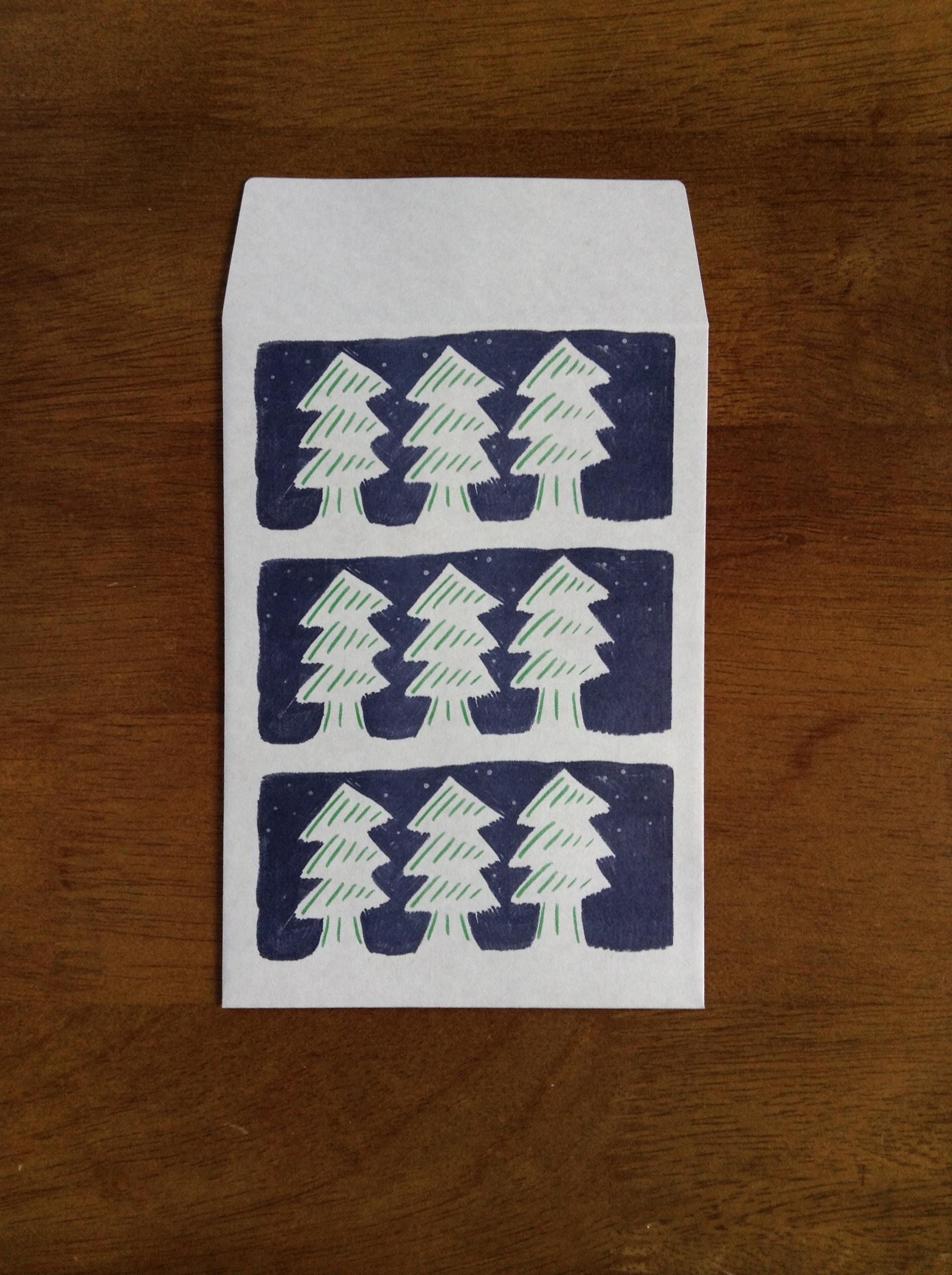ちょっとした贈り物のラッピングやお手紙に 封筒 森 3枚入り
