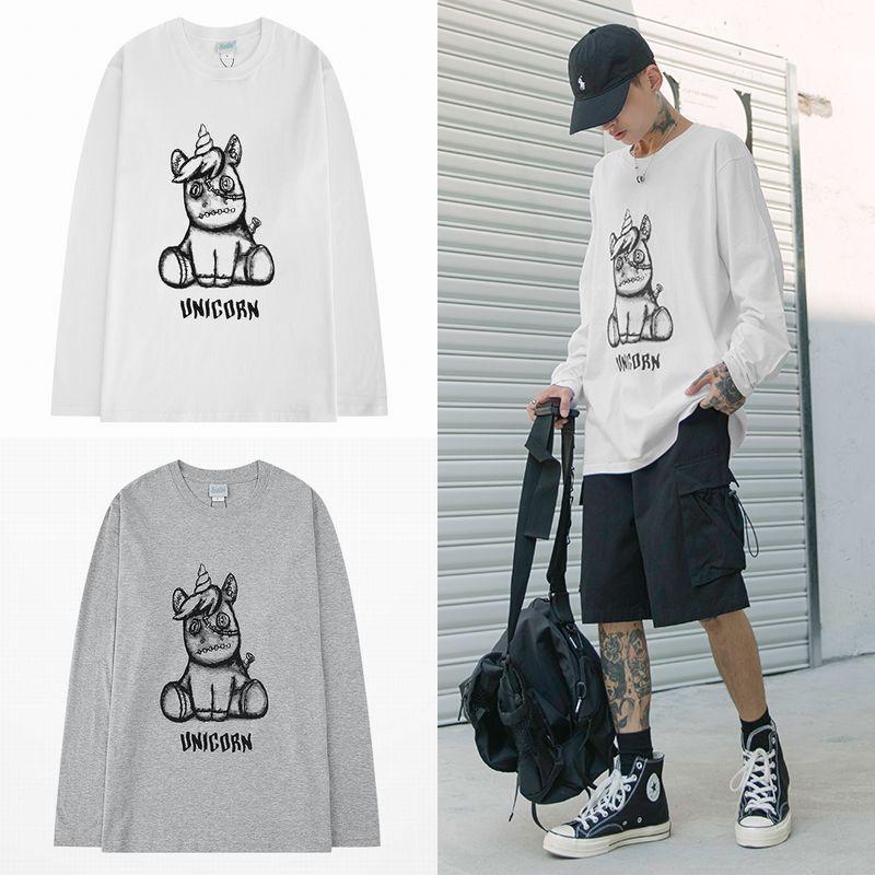 ユニセックス 長袖 Tシャツ メンズ レディース ユニコーン プリント ラウンドネック オーバーサイズ 大きいサイズ ストリート