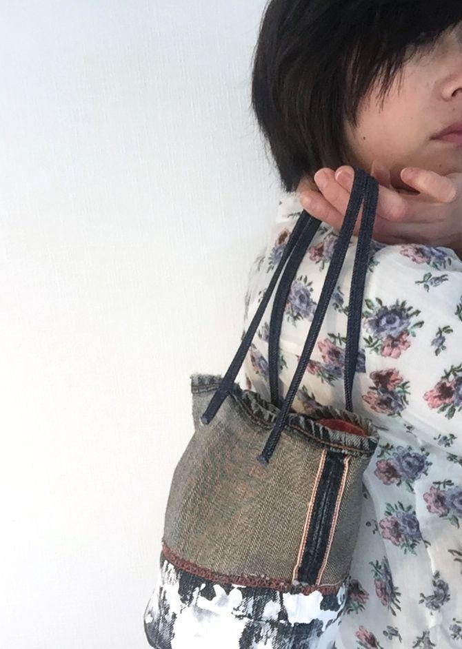 used denim mini bag  / antique kimono(橙絞り)