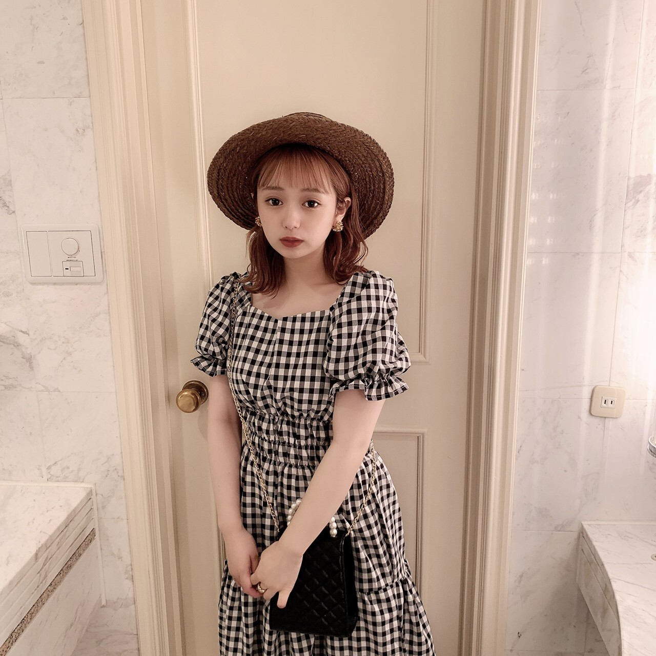 【meltie】coco check one-piece