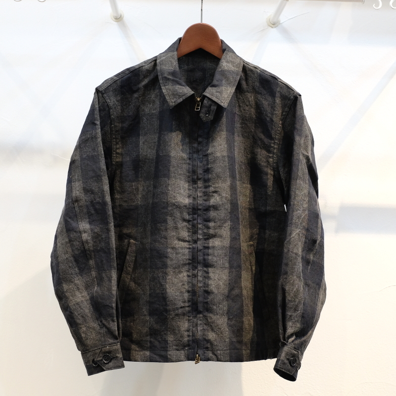 KUON(クオン) 麻・墨染チェック ドリズラージャケット