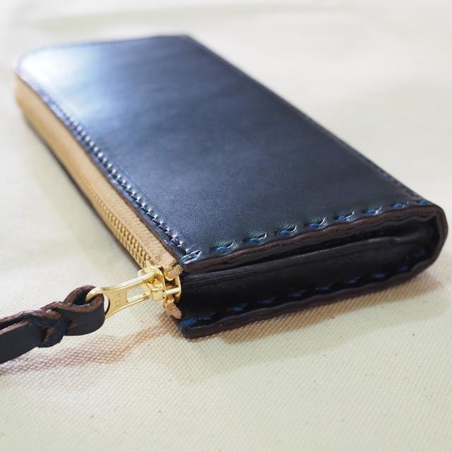 L字ファスナーの長財布 / ネイビー