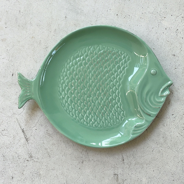 Round Plate Fish Mint Green ラウンドプレート 皿