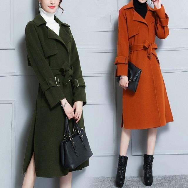 トレンド ウール コート アウター ベルト メルトンコート 上品 フェミニン 通勤 ロングコート 美シルエット