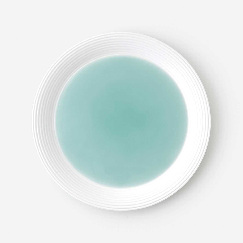 青磁白彩 プレート皿 (約21.4cm)