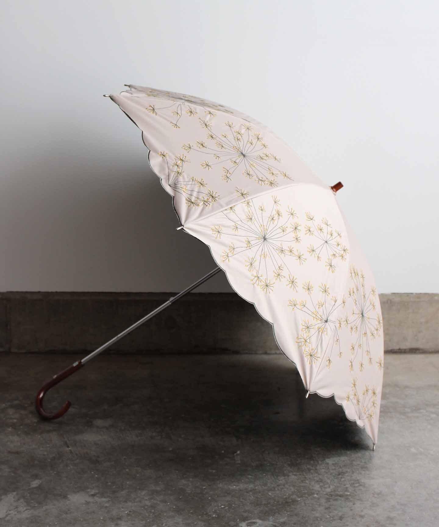 【フェンネル花刺繍】雨天兼用日傘 ベージュ