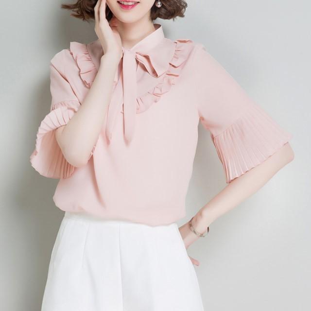 春夏のおすすめ☆ おしゃれなブラウス シフォン リボンタイ シャツ フリル きれいめ