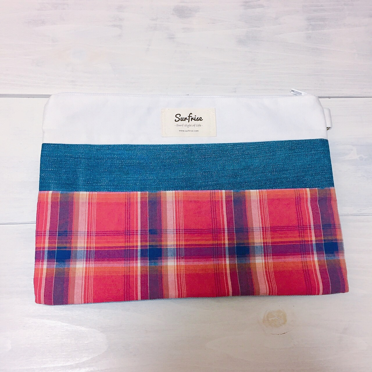 Denim clutch bag Check5(Red)