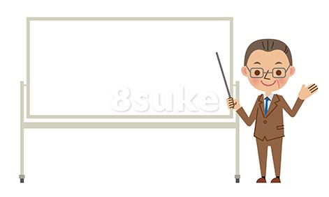 イラスト素材:ホワイトボードを使ってプレゼンする中年のビジネスマン(ベクター・JPG)