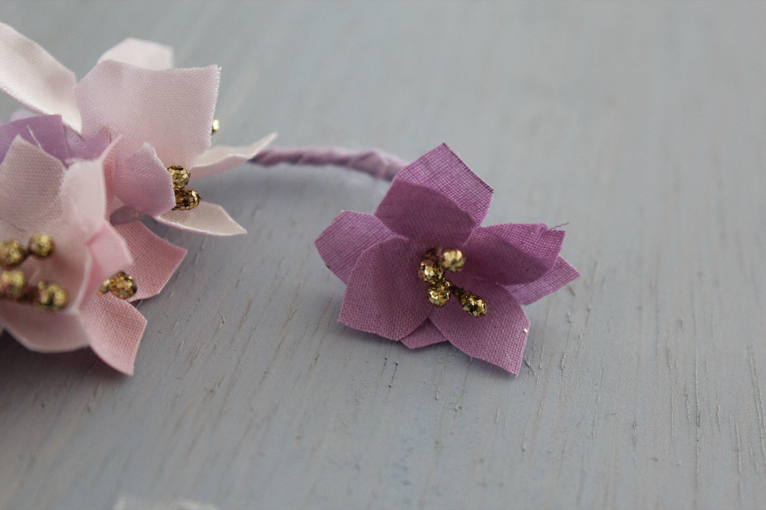 華やかな花とキラキラガラスビーズのイヤーフック(英 Pink) 右耳用