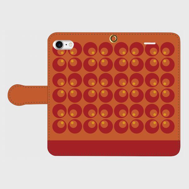 レトロポップ(赤・橙)/ iPhoneスマホケース(手帳型ケース)