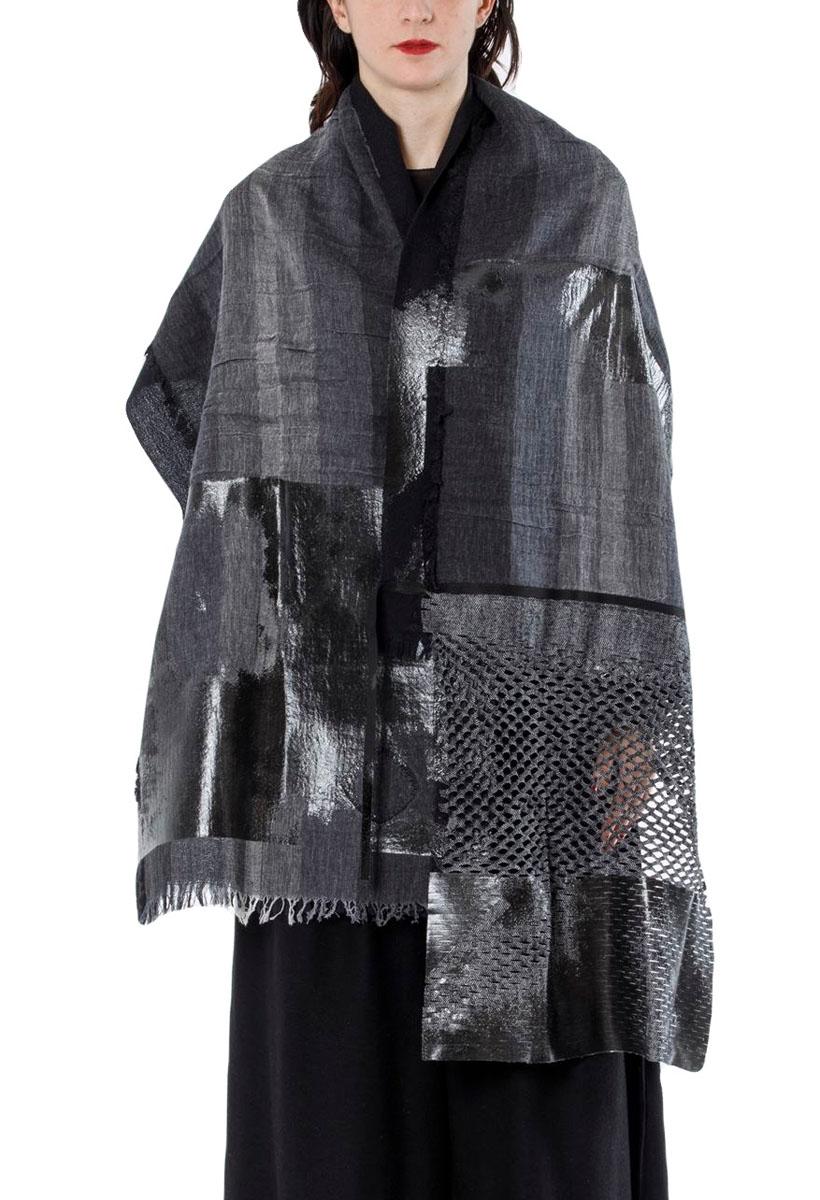 [着るストール]DRESS SCARF【WOOLxCOTTONウールxオーガニックコットン】 ドレススカーフ  二重織 BLACK/BLUE  2154RL[送料/税込]