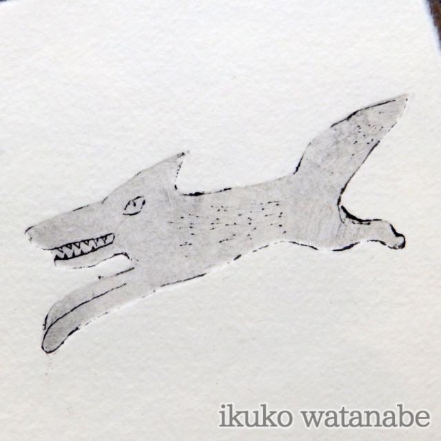 版画カード - オオカミ - わたなべいくこ - no9-wat-08