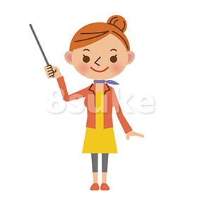 イラスト素材:指し棒を使って解説・プレゼンする女性(ベクター・JPG)