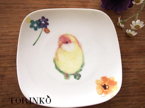 コザクラインコ イエロー とお花の皿