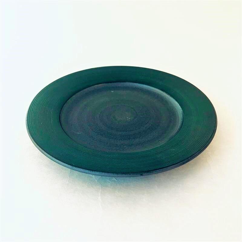 沖誠3-5 グリーン5寸リム皿