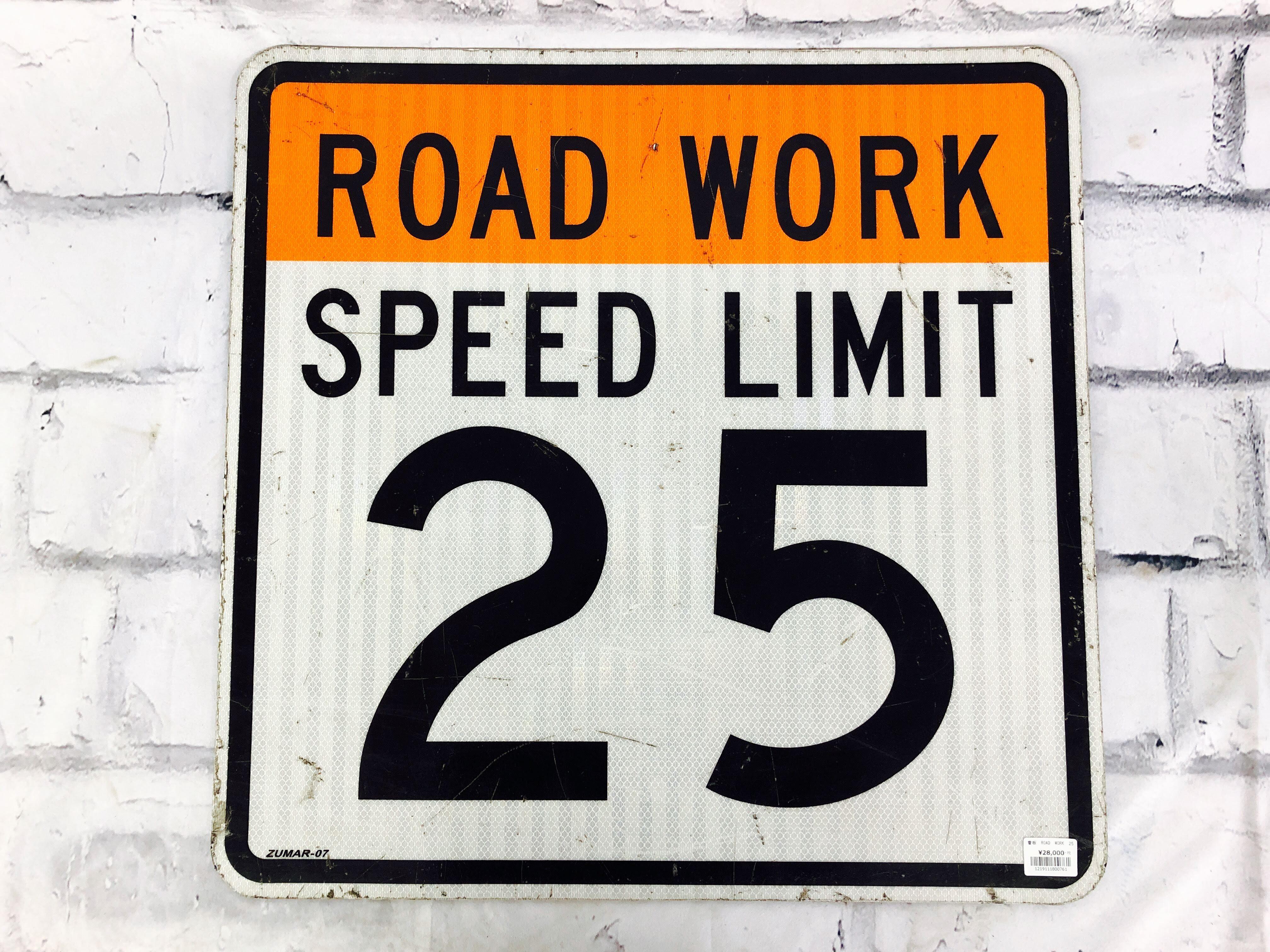品番0761 道路標識 看板 『ROAD WORK 25』『END 25』 ロードサイン サインボード アメリカンヴィンテージ 012