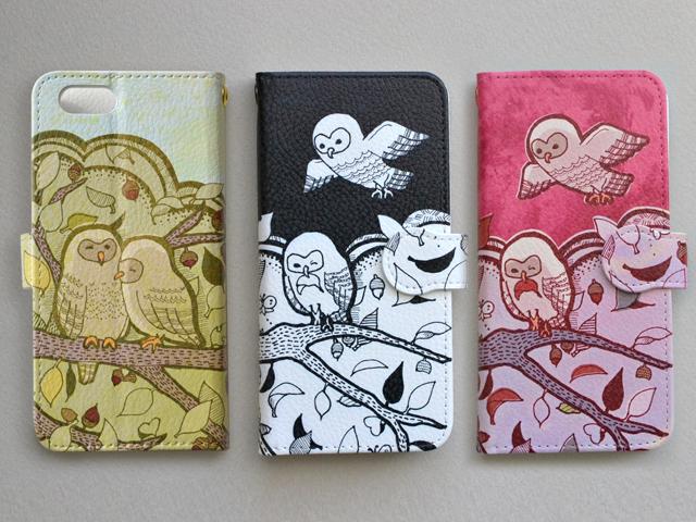 【送料無料】フクロウ4兄弟〜手帳型スマホケース《受注生産:iPhone,Android対応》