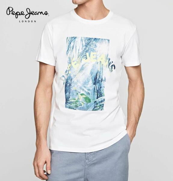 ペペジーンズ ロンドン メンズ トップス 半袖 プリント Tシャツ PEPE JEANS LONDON OWAIN OPTIC WHITE【正規取扱店】