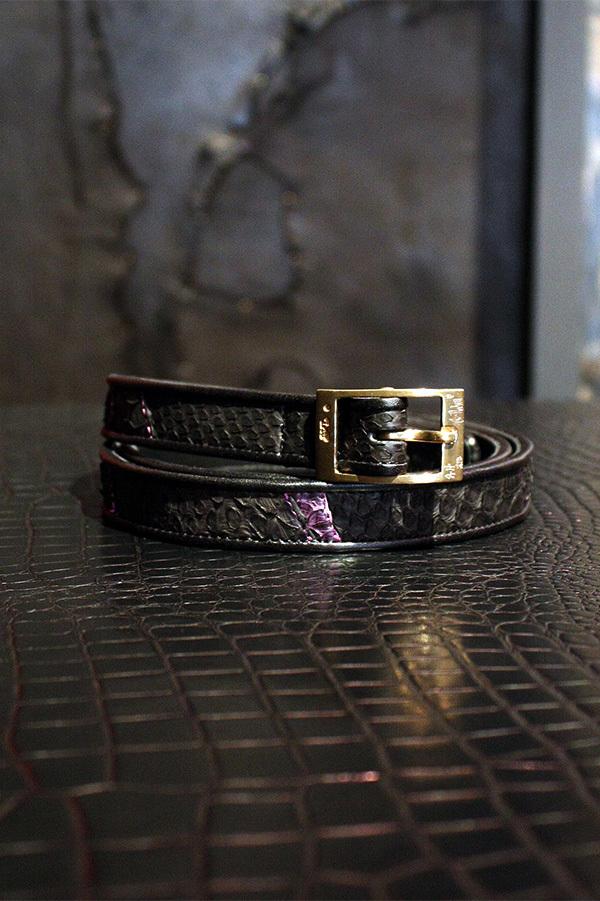 Item No.0058:Rizard Head×Bill Wall Leather SAMURAI Collection Limited Nallow Belt Purple [RONIN]-牢人 【World Ltd 50pcs】
