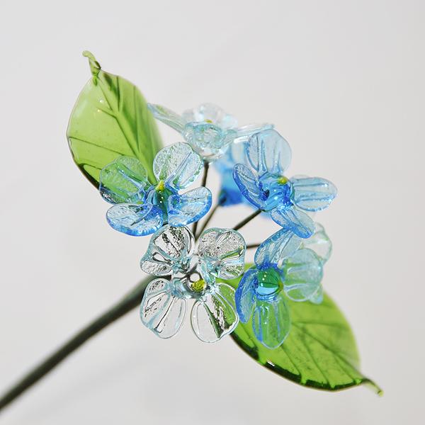 グラスフラワー あじさい(2枚の葉/ブルー)