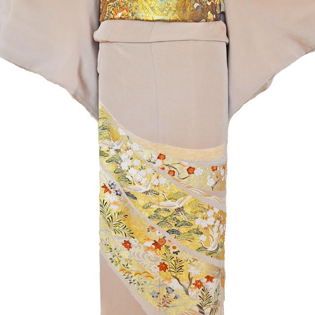 レンタル色留袖■高級加工■桃色地 流れる短冊に豪華な金彩鶴や松の柄irotome2【往復送料無料】 - 画像1