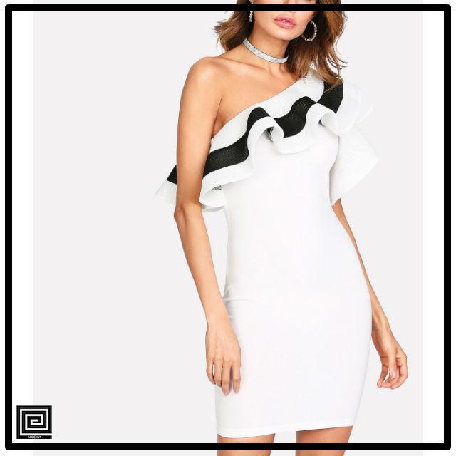 ワンショルダーフィットドレス