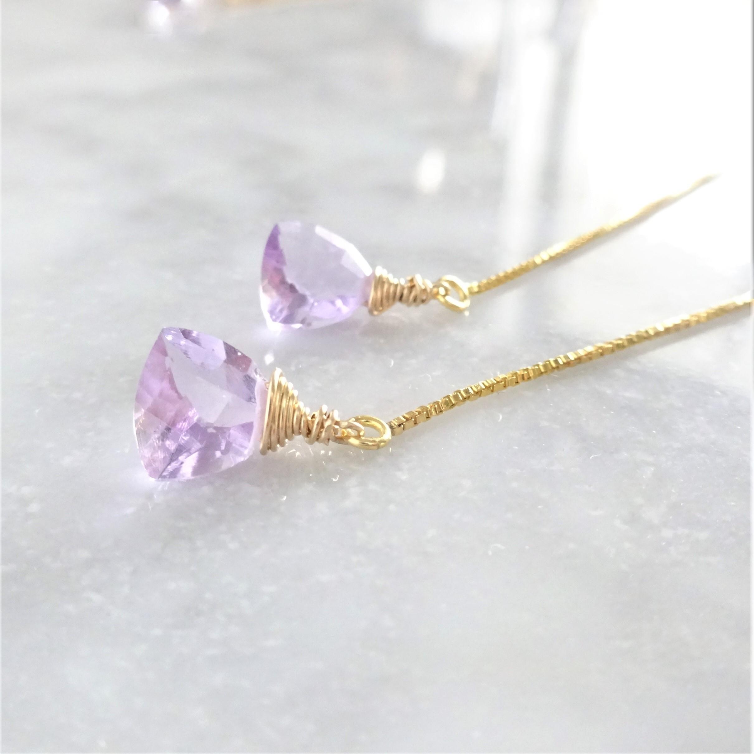 送料無料14kgf*宝石質 Pink Amethyst Triangl american pierced earring