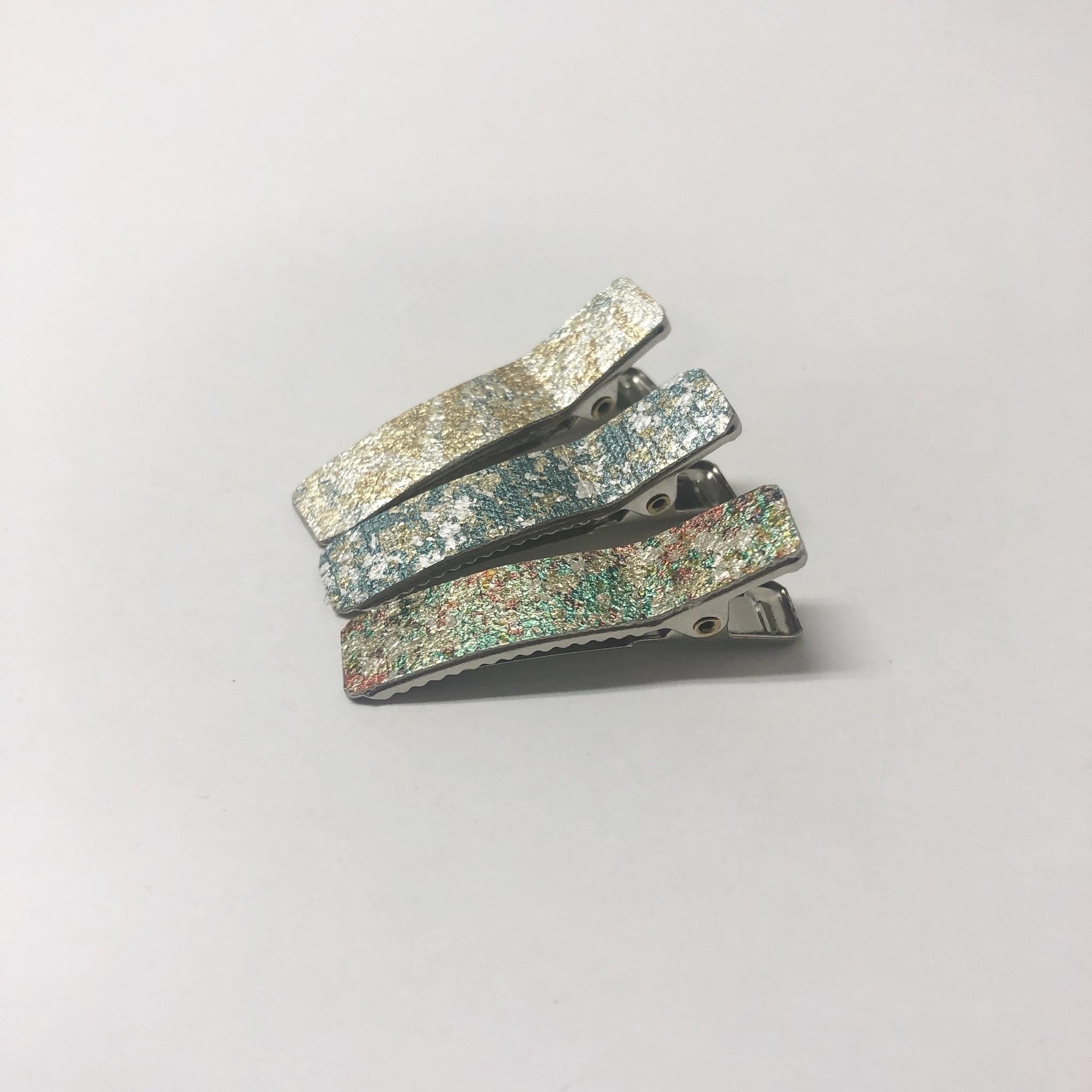 金彩ミニヘアクリップ/2個セット/最高級生地を使用!金彩/着物(浴衣/和装/和服)に似合うヘアアクセサリー