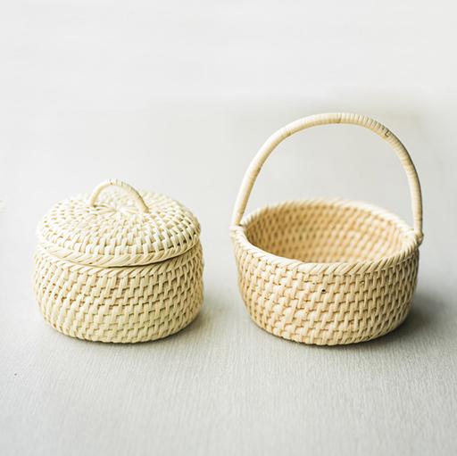 ちび籠 2点セット 蓋つき&手付き 手編み