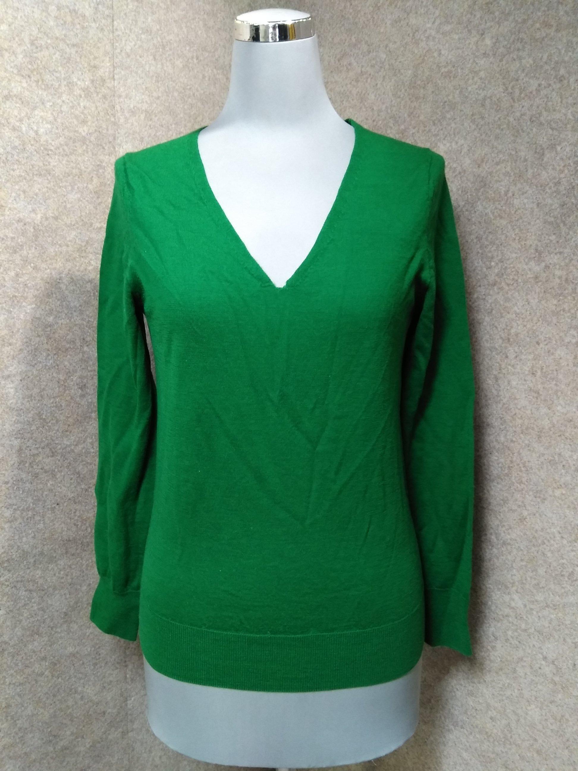 シップス SHIPS Vネック セーター 薄手 ニット M 緑 mu384s