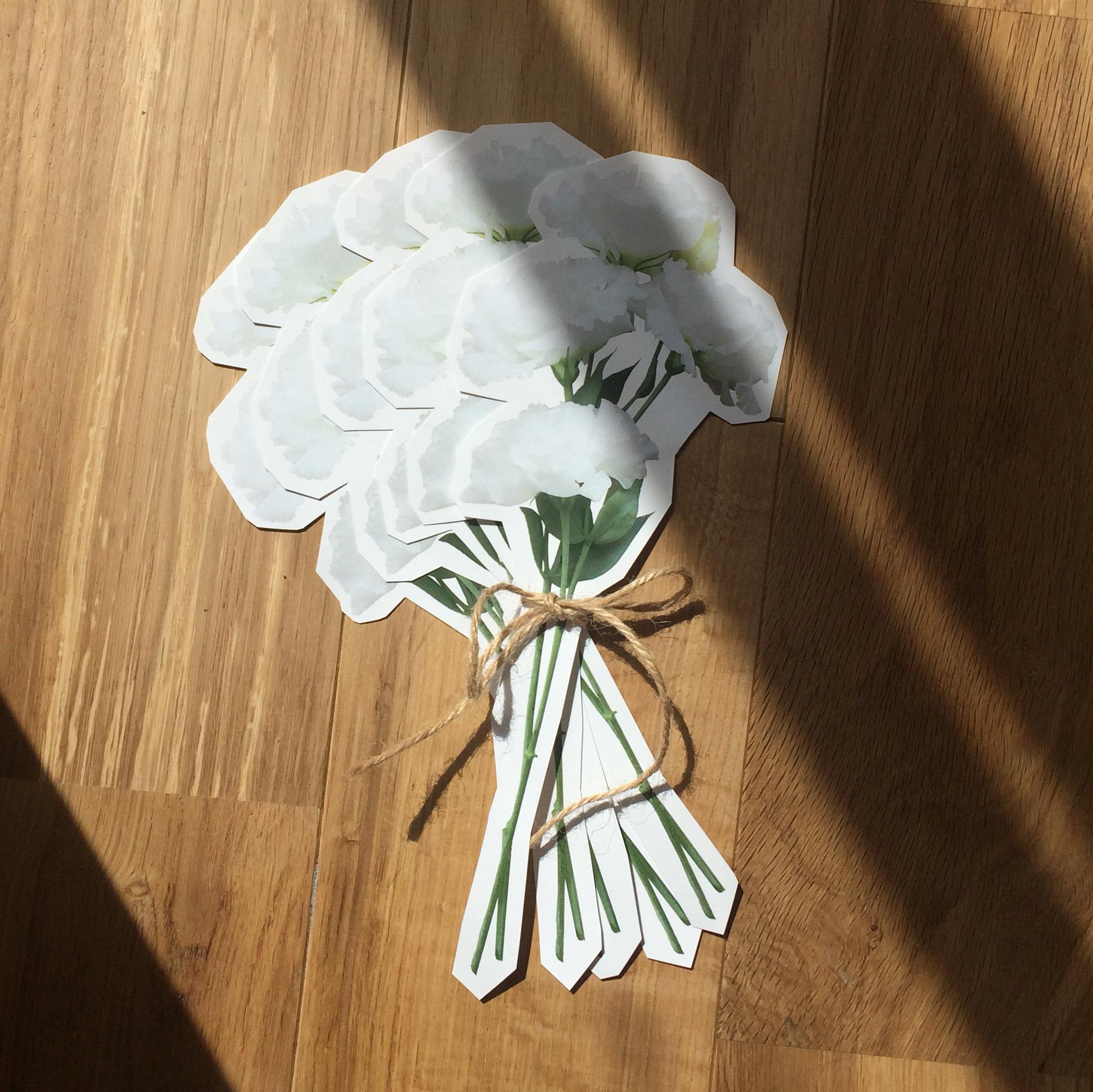 約25cm 10枚セット トルコキキョウ ボヤージュホワイト 花束のメッセージカード