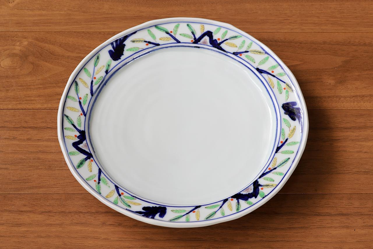 藍水 木の葉草花 8寸皿 うつわ藍水 波佐見焼 直径約25cmのプレート