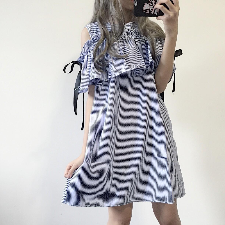 【dress】学園風膝丈ラウンドネックプルオーバーAラインカジュアルワンピース22210799