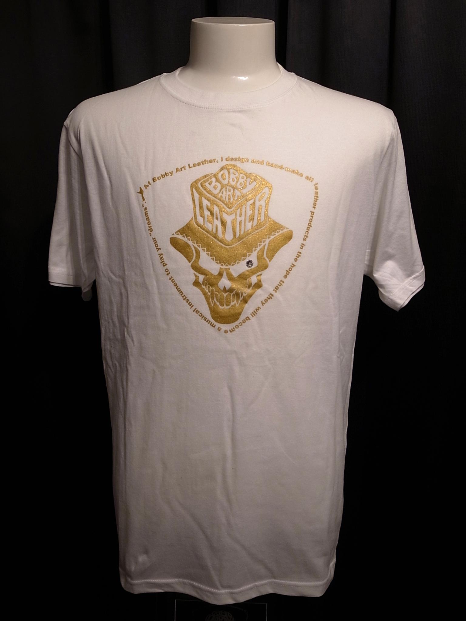 数量限定 スカルハットロゴ・ロックTシャツ◆白ベース×ゴールド