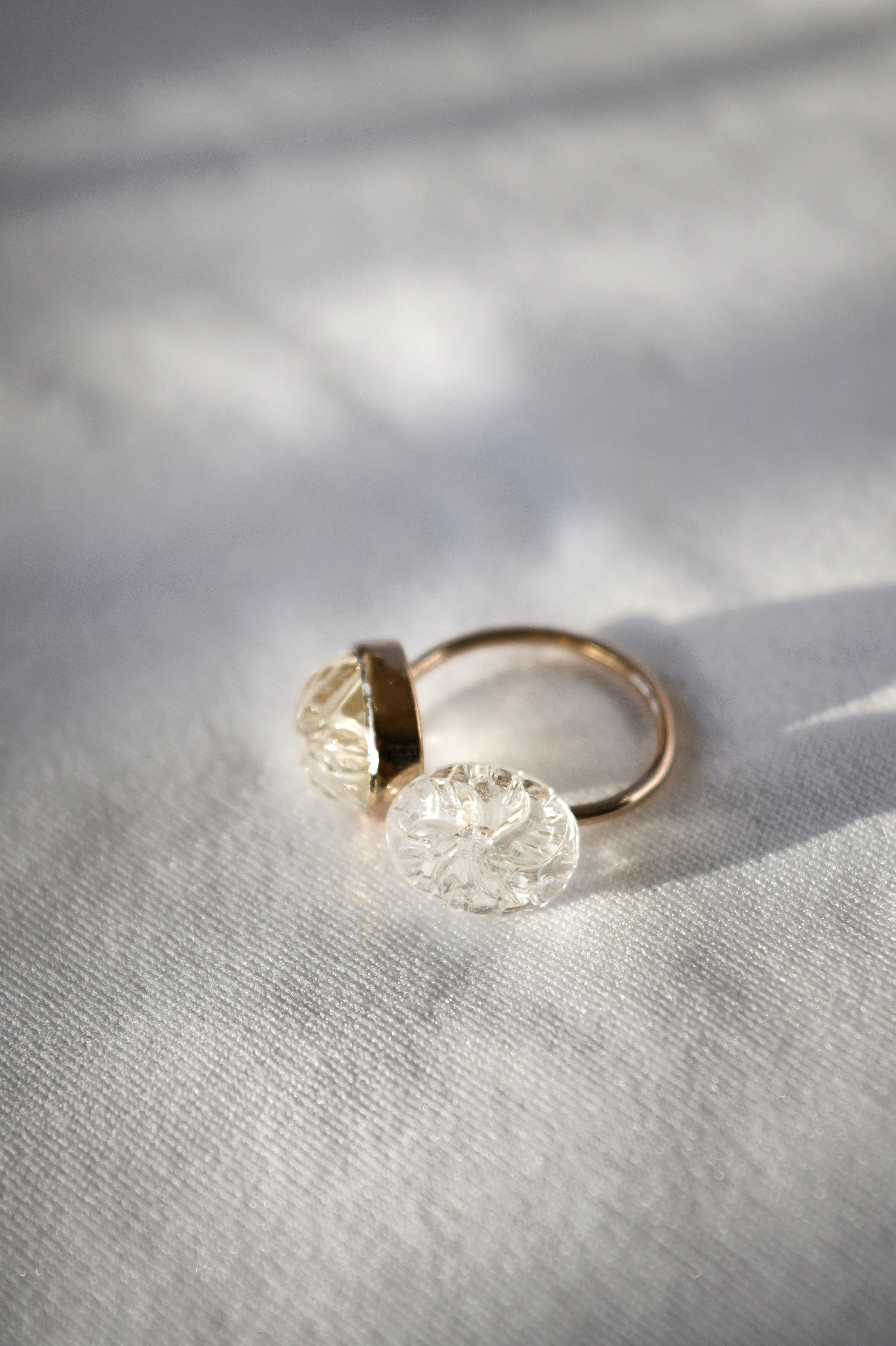 K10 Carving Quartz Ring 10金カービング水晶リング