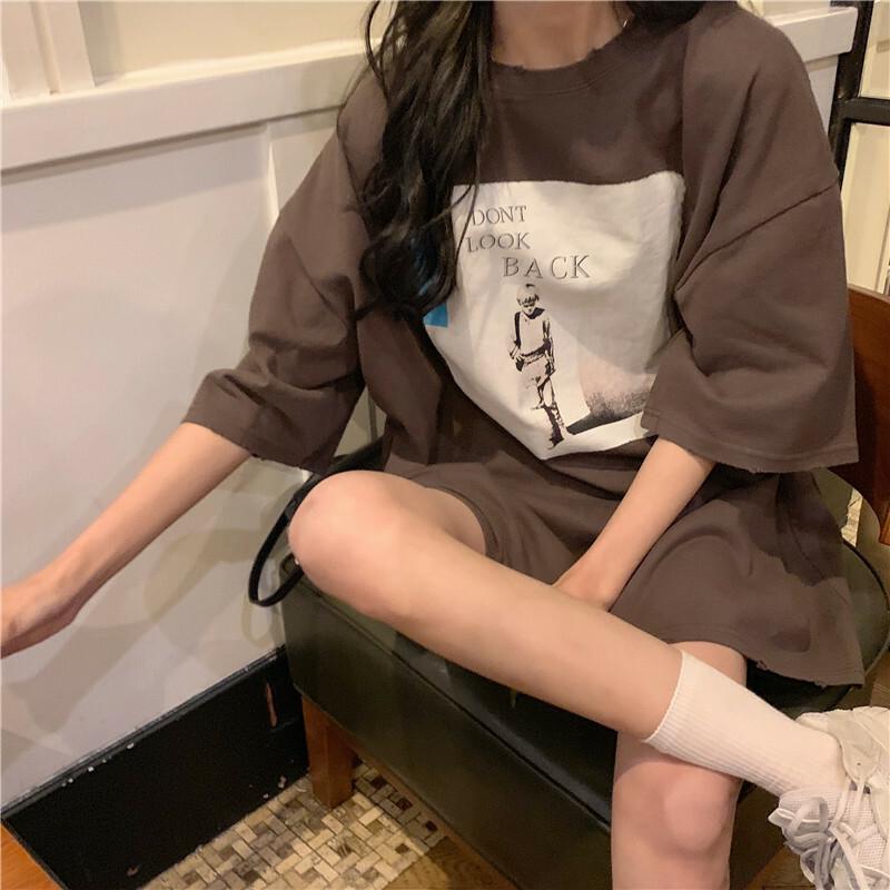 【送料無料】 ゆるだぼTシャツ♡ オーバーサイズ ビッグシルエット プリント Tシャツ