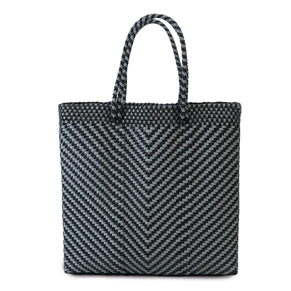 MERCADO BAG ESPIGA SEMILONG HANDLE  - Silver x Black(M)