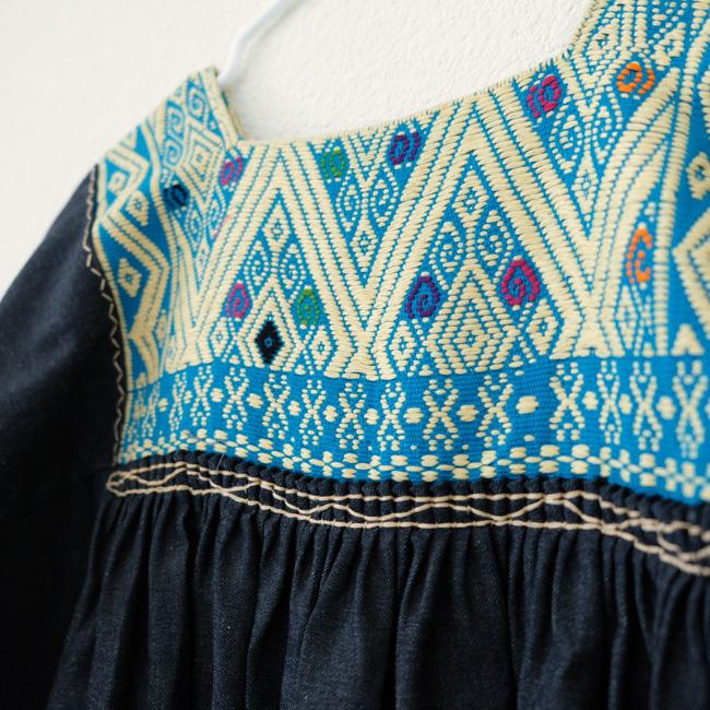 ララインサールの手織りデニムチュニックブラウス/ Msize /219/ MEXICO メキシコ