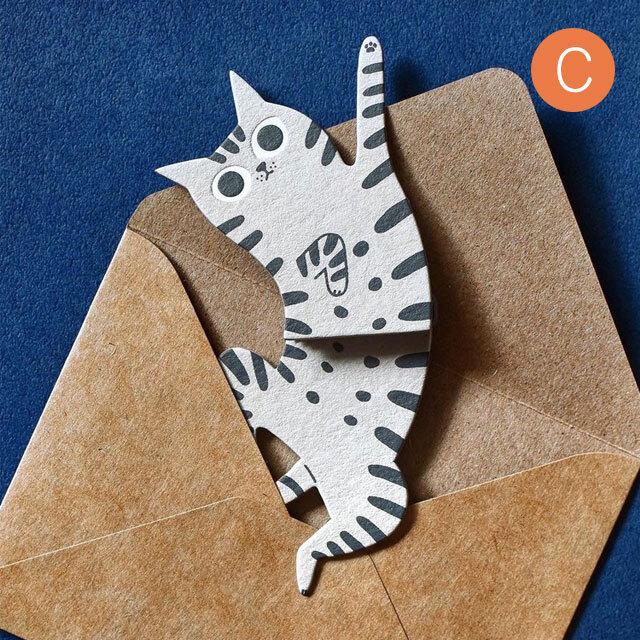 猫型メッセージカード C