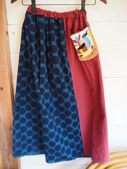 道草スカート・旅する刺繍と水玉