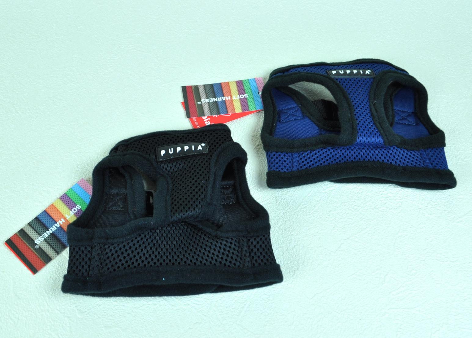 【PUPPIA:パピア】ソフトハーネス  Sサイズ (ブラック / ブルー)